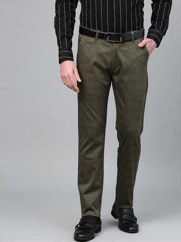 Hancock Men Green  Cotton Checked Slim Fit Casual Trouser