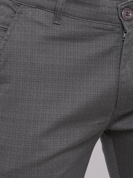 Hancock Men Grey Cotton Checked Slim Fit Casual Trouser