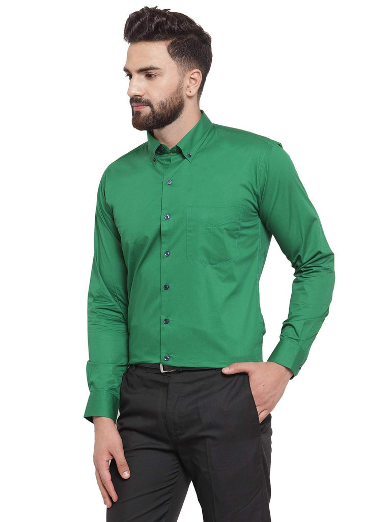 Hancock Men Green Pure Cotton Solid Button Down Slim Fit Formal Shirt