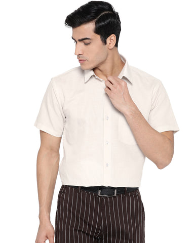Hancock Men Beige Cotton Solid Slim Fit Formal Shirt