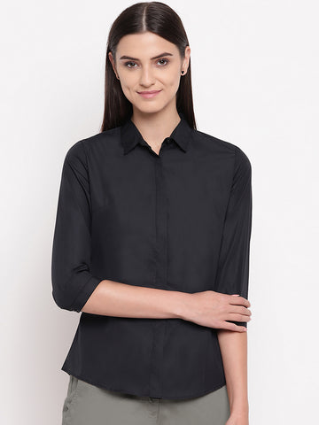 Hancock Women Black Pure Cotton Solid Slim Fit Formal Shirt