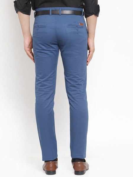 Hancock Men Blue Pure Cotton Solid Slim Fit Casual Trouser