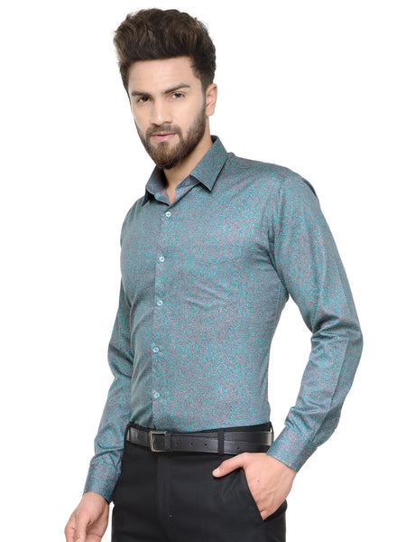 Hancock Green Printed Pure Cotton Slim Fit Shirt