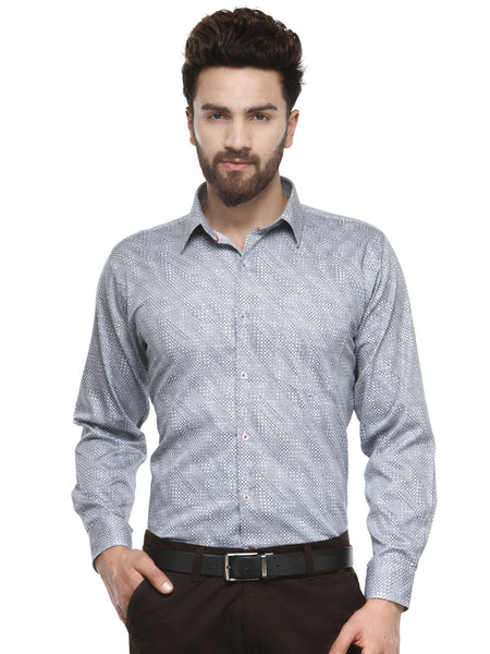 Hancock Navy and White Printed Pure Cotton Slim Fit Shirt