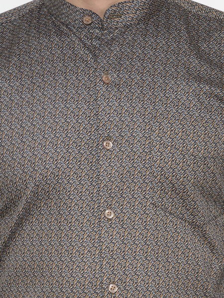 Hancock Brown and Navy Printed Pure Cotton Slim Fit Shirt