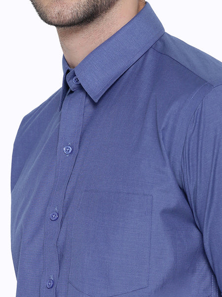 Hancock Blue Chambray Slim Fit Formal Shirt