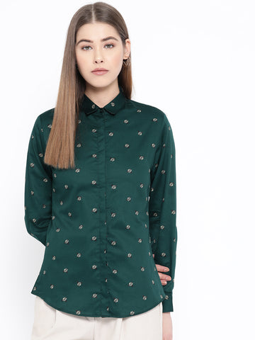 Hancock Women Green Pure Cotton Printed Slim Fit Formal Shirt