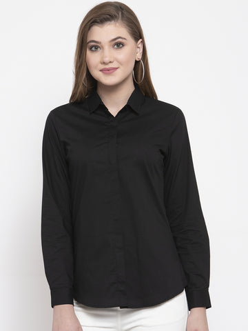 Hancock Women Black Cotton Solid Slim Fit Formal Shirt