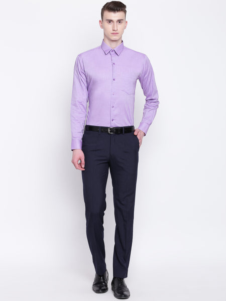 Hancock Men Purple Pure Cotton Solid Slim Fit Formal Shirt