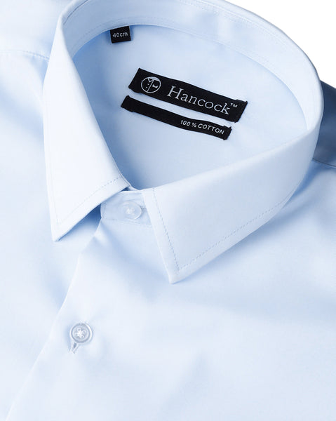 Hancock Men Sky Blue Cotton Solid Slim Fit Formal Shirt