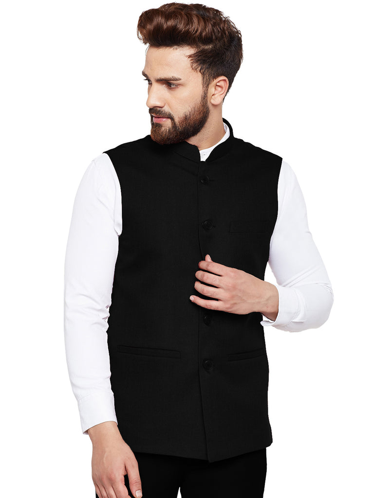 Hancock Black Solid Slim Fit Formal Nehru Jacket