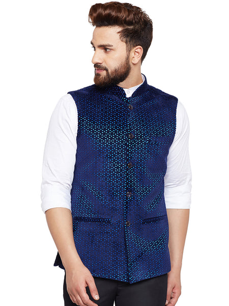 Hancock Navy Laser Cut Velvet Slim Fit Party Wear Nehru Jacket