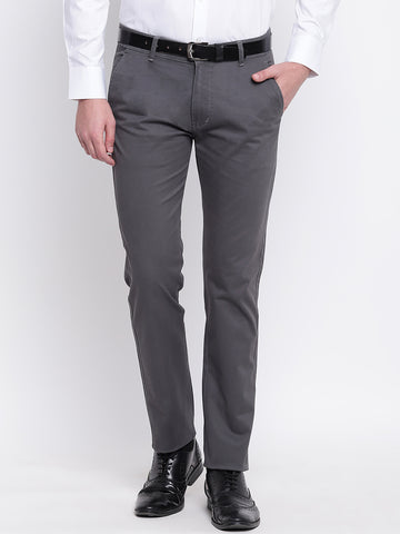 Hancock Men Grey Cotton Solid Slim Fit Casual Trouser