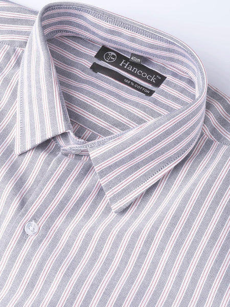 Hancock Men Blue & White Pure Cotton Striped Regular Fit Formal Shirt