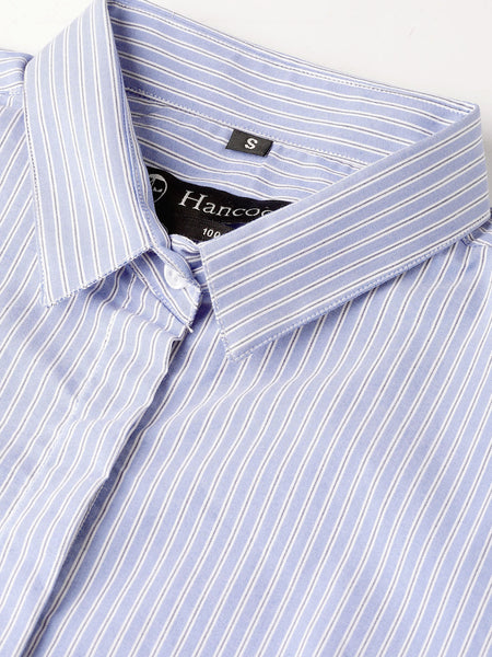 Hancock Women Sky Blue Pure Cotton Striped Slim Fit Formal Shirt