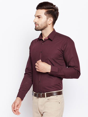 Hancock Maroon Polka Dot Printed Premium Pure Cotton Slim Fit Shirt