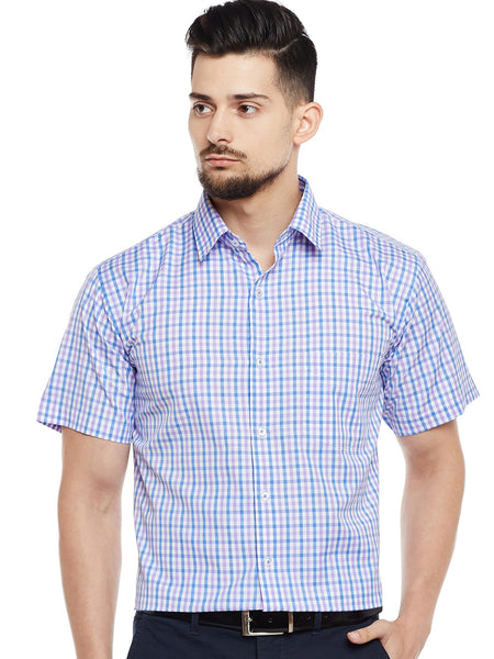 Hancock White & Purple Checked Slim Fit Formal Shirt
