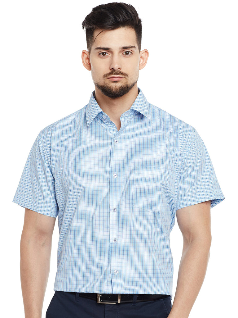 Hancock White & Blue Checked Slim Fit Formal Shirt