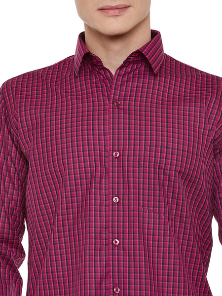 Hancock Magenta Checked Slim Fit Formal Shirt