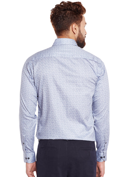 Hancock Grey Printed Pure Cotton Slim Fit Formal Shirt