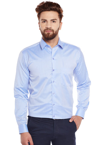 Hancock Blue Solid Slim Fit Formal Shirt