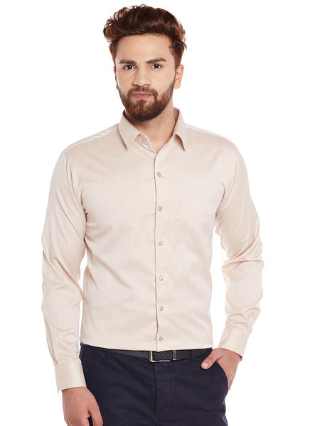 Hancock Fawn Solid Slim Fit Formal Shirt