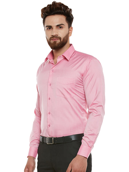 Hancock Pink Solid Slim Fit Formal Shirt