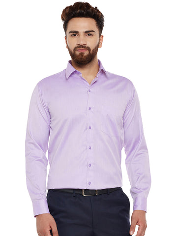 Hancock Purple Solid Slim Fit Formal Shirt