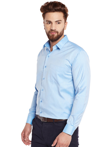 Hancock Turquoise Blue Solid Slim Fit Formal Shirt