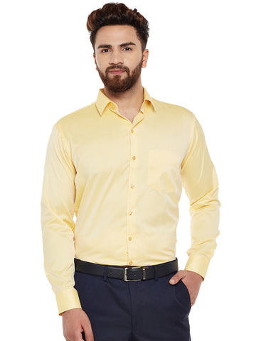 Hancock Yellow Solid Slim Fit Formal Shirt