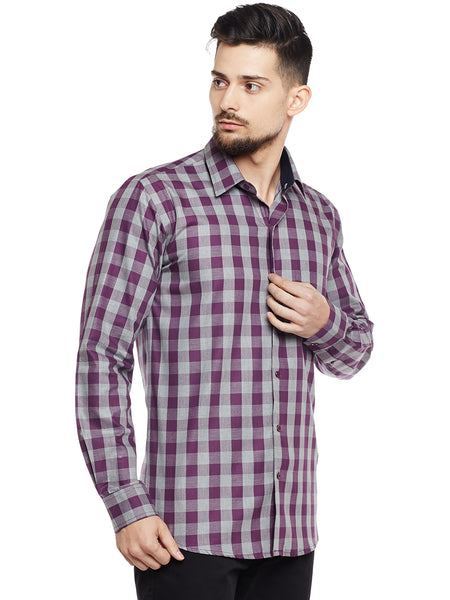 Hancock Grey & Wine Checked Pure Cotton Pure Cotton Slim Fit Casual Shirt