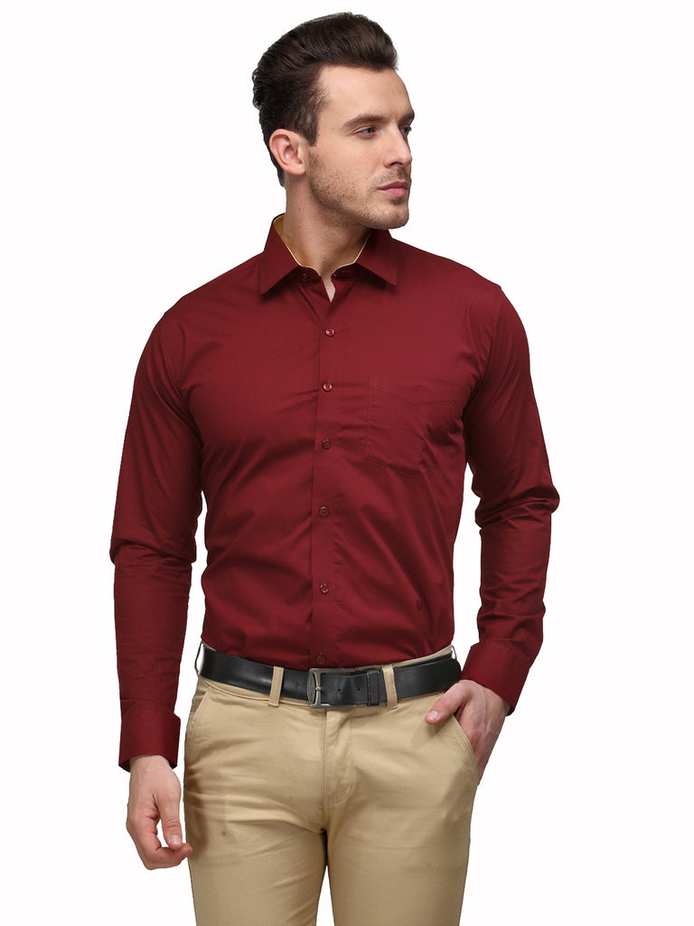 Hancock Maroon Solid Pure Cotton Slim Fit Formal Shirt