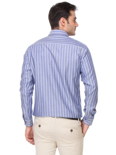 Hancock Blue Slim Fit Stripes Dobby Pure Cotton Formal Shirt