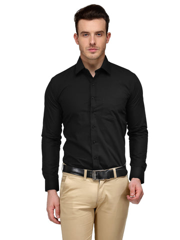 Hancock Black Solid Rich Cotton Slim Fit Formal Shirt