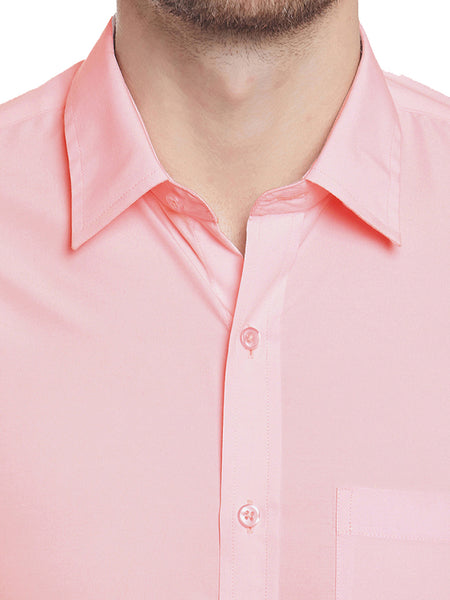 Hancock Coral Solid Slim Fit Cotton Rich Formal Shirt
