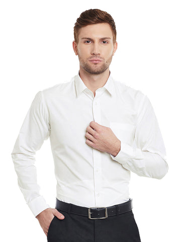 Hancock Cream Solid Cotton Slim Fit Formal Shirt