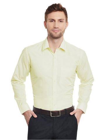 Hancock Lemon Solid Slim Fit Cotton Rich Formal Shirt