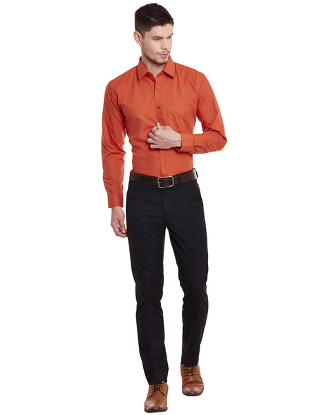 Hancock Orange Solid Cotton Slim Fit Formal Shirt