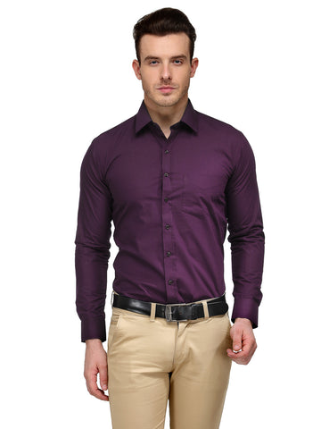 Hancock Purple Solid Rich Cotton Slim Fit Formal Shirt
