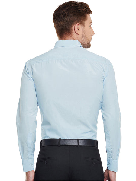 Hancock Sky Blue Solid Cotton Slim Fit Formal Shirt