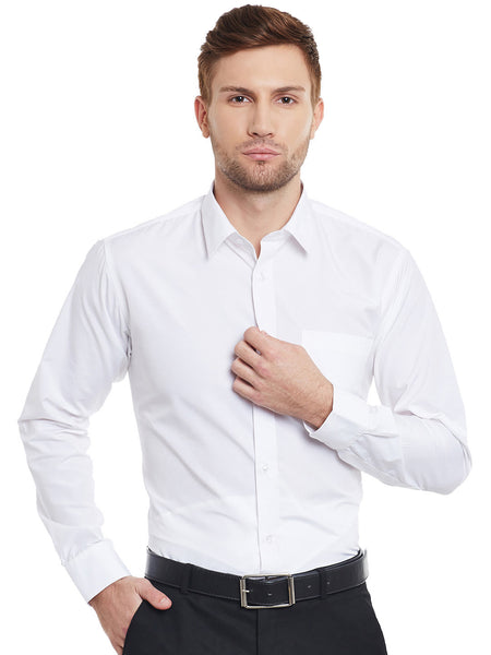 Hancock White Solid Slim Fit Formal Shirt