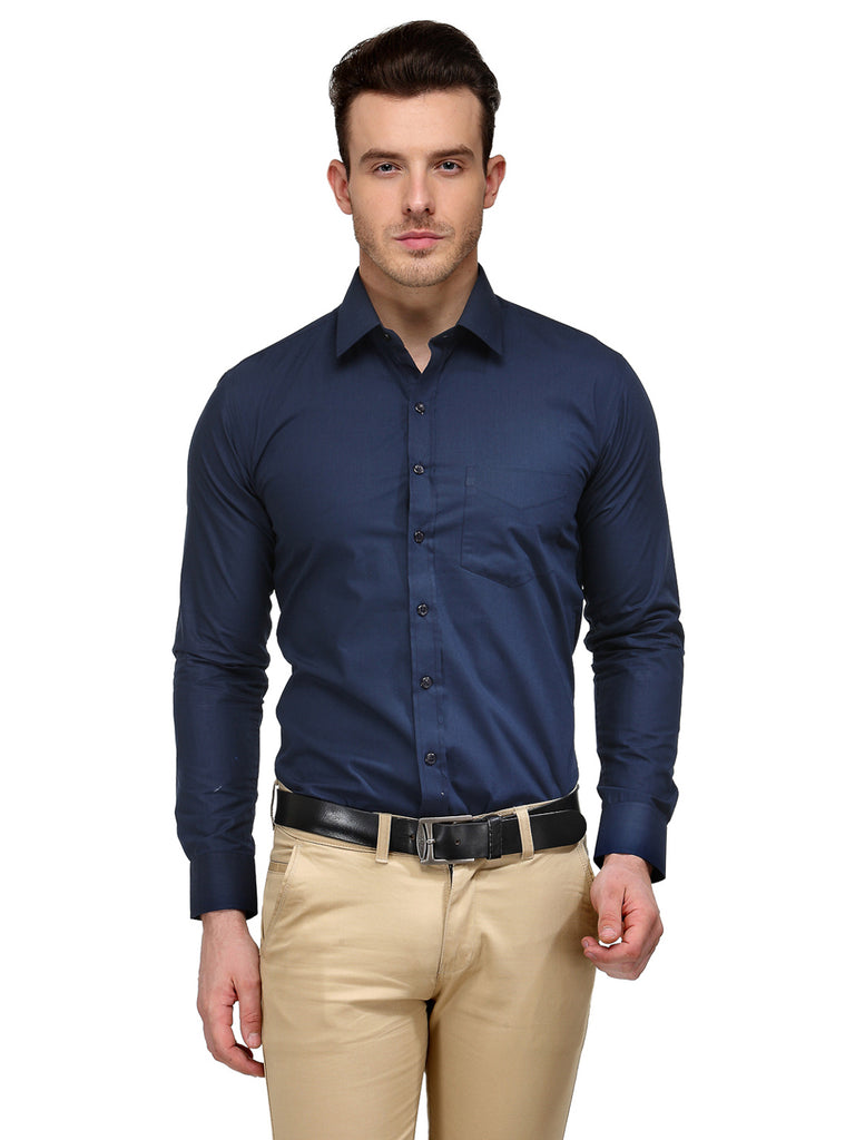 Hancock Navy Blue Solid Slim Fit Cotton Rich Formal Shirt