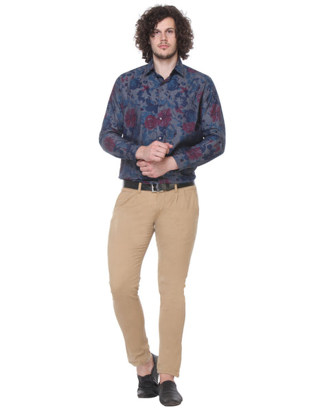 Hancock Navy Slim Fit Printed Pure Cotton Shirt