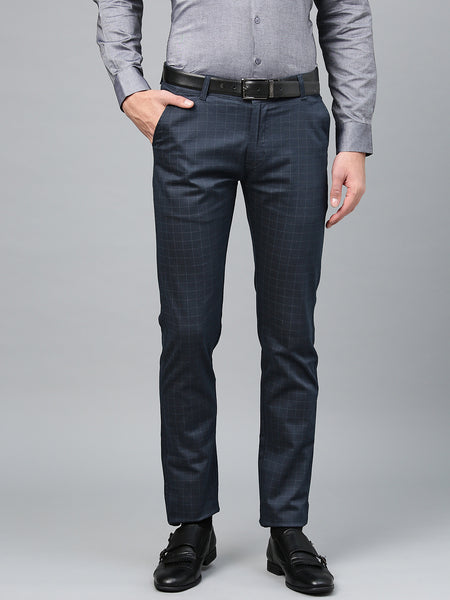 Hancock Men Navy Cotton Checked Slim Fit Casual Trouser
