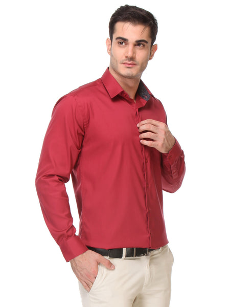 Hancock Red Slim Fit Solid Oxford Pure Cotton Formal Shirt