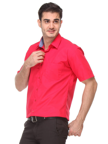 Hancock Red Slim Fit Solid Pure Cotton Formal Shirt