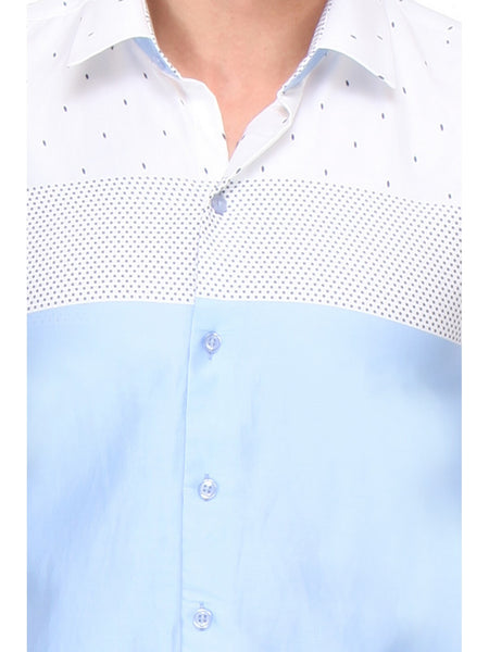 Hancock Blue and White Slim Fit Printed Satin Pure Cotton Shirt