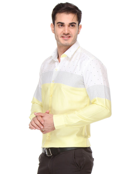 Hancock Yellow Slim Fit Printed Satin Pure Cotton Shirt