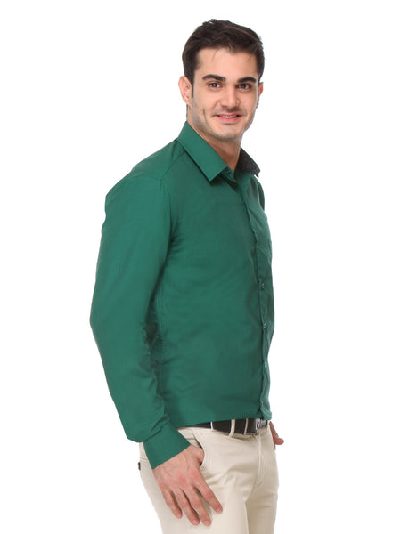 Hancock Green Slim Fit Solid Chambray Pure Cotton Formal Shirt