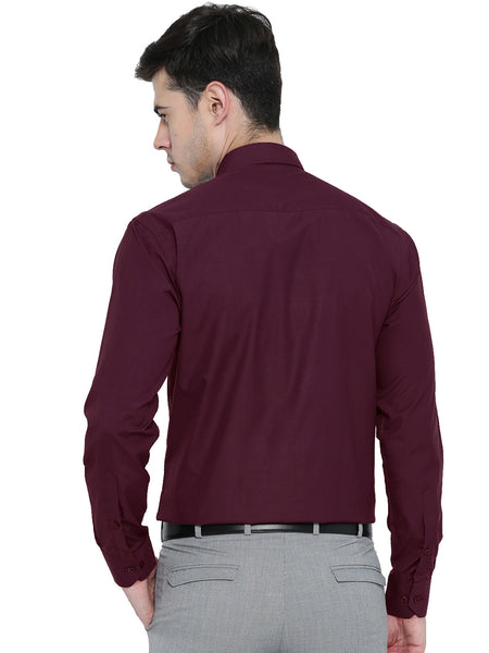 Hancock Maroon Solid Slim Fit Formal Shirt